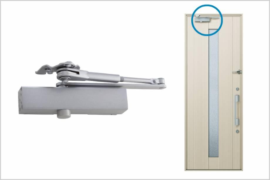 ドアクローザー:ドアの閉まる速度を制御している部品