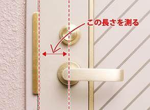 ドアの端から錠前の中心までの距離を測ります