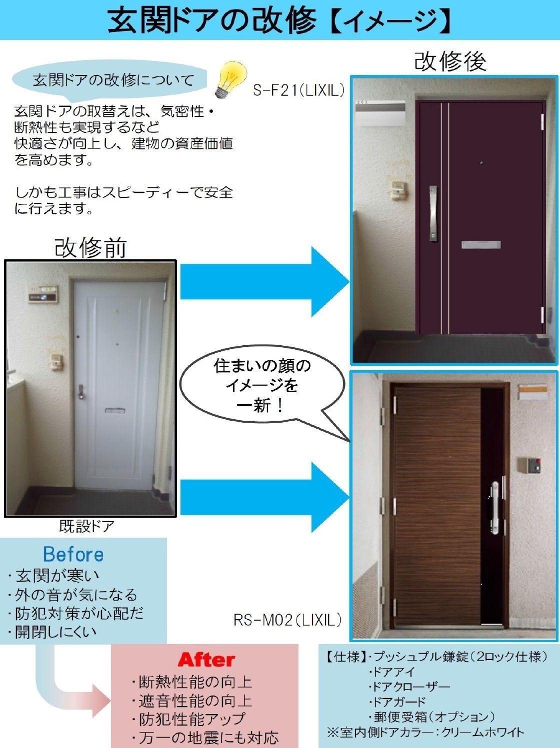 玄関ドアの改修イメージ