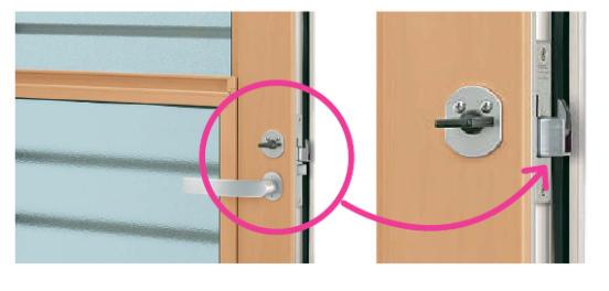 勝手口ドア2つの鎌錠